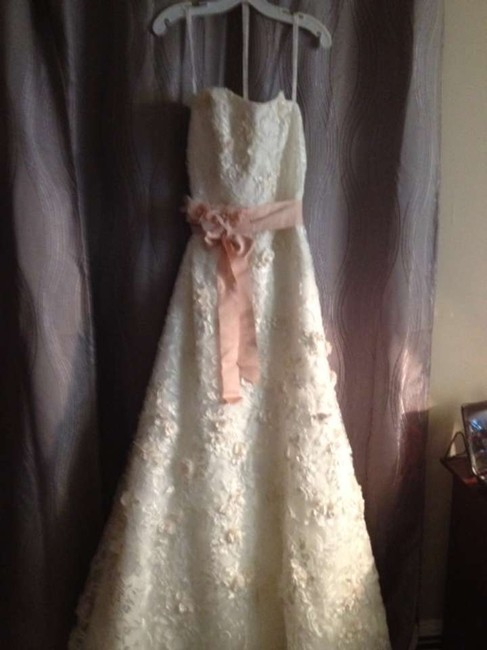Item - Ivory and Blush Satin Lace Fitted Trumpet Gown with Subtle Pink Flowers Style Cwg464 Feminine Wedding Dress Size 8 (M)