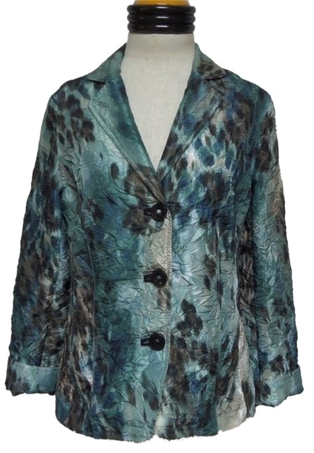 Chico's Green Blue Brown and Beige Blazer