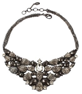 Amrita Singh Amrita Singh Fine Line Gun Metal Beads Multi Chain and Crystal Evening Necklace