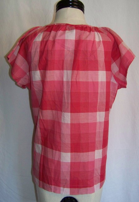 Christopher & Banks Top Red and White Checkered Print