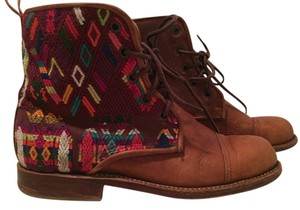 Teysha Leather Casual Guatamala Hand Made Textile Brown Boots