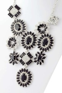 Other Black and Clear Crystal Starburst Design Statement Necklace Set