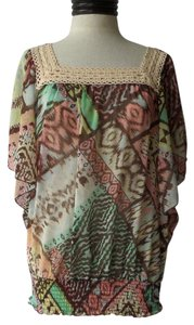 New Directions Top Multi Color Pastel Geometric Print