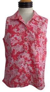 Brisas Button Down Shirt Pink and White Floral Print