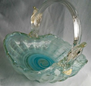 Murano Turquoise White Clear Vintage Art Glass Glass Basket