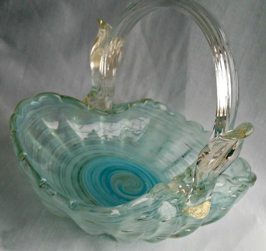 Preload https://item5.tradesy.com/images/murano-turquoise-white-clear-vintage-art-glass-glass-basket-3343189-0-0.jpg?width=440&height=440