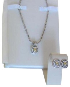 LAGOS/BLOOMINGDALES AUTHENTIC LAGOS: 14K GOLD ON STUNNING SILVER PENDANT, EARRINGS CHAIN