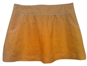 Linen Mini Short Mini Skirt Yellow