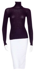 Chanel Turtleneck Mock Ribbed Cc Button Sweater