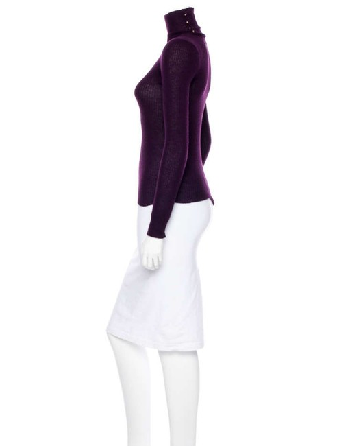 Chanel Turtleneck Mock Ribbed Button Sweater