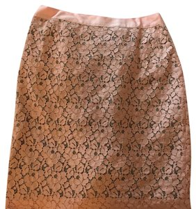 J.Crew Lace Pencil Silk Skirt Pink
