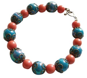 Other Blue orange glass beads bronze caps bracelet