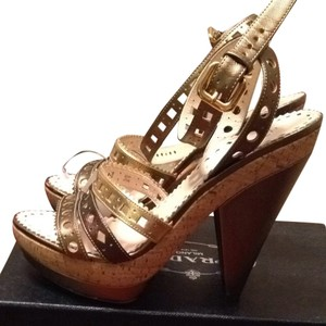 Prada Metallic Bronze Sandals