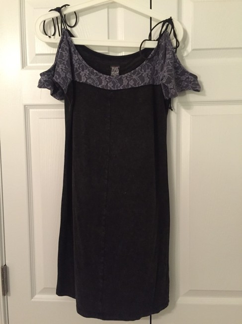 Free People Gray Off The Shoulder Lace Dress