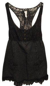 Free People short dress Black & Grey Sleeveless Lace Buttons on Tradesy