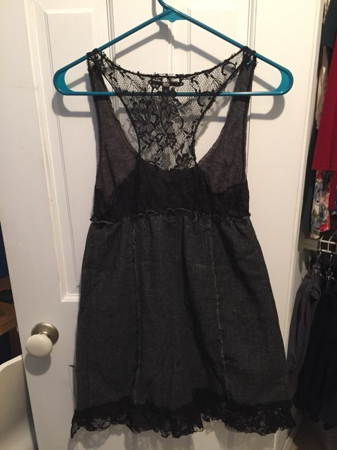 Free People short dress Black & Grey Sleeveless Lace Buttons Frayed on Tradesy