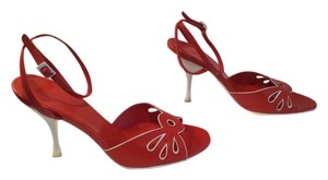Céline Thin Made Italy B Red and white all leather eyelets ankle straps Italian E37 Sandals