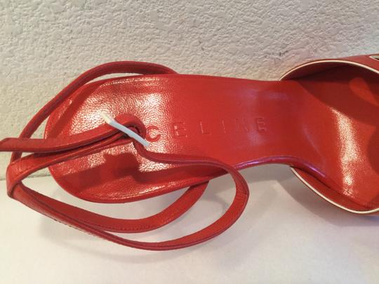 Céline Thin Made Italy B $80 OFF NEW Red and white all leather eyelets ankle straps Italian E37 Sandals