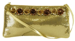 Whiting & Davis & Swarovski Crystals Gold Clutch