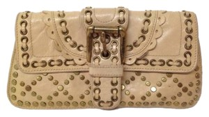 Isabella Fiore Leather Ivory Clutch