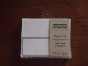 White/Silver 3 Sets Of 50 Place Cards