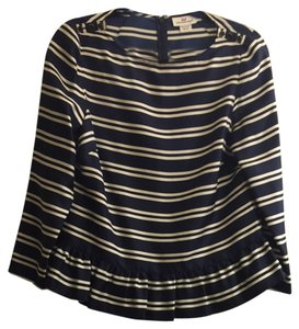 Vineyard Vines Nautical Silk Ruffle Top Navy Blue And White