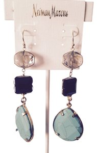Panacea Cache Faceted Turquoise, Smoke Crystal & Jet Triple Drop Earrings