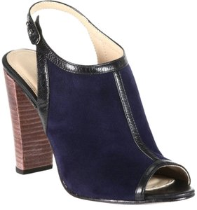 L'AGENCE New Slingback Suede Blue Chunky Heel Leather Navy Sandals