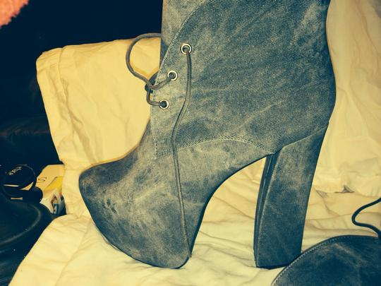Fahrenheit Chunky Platform Heels Chunky Heel Faux jean suedette Boots Image 1