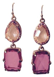 R.J. Graziano Shades Of Pink Rhinestone Double-Drop Earrings
