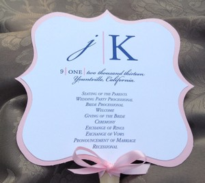 Set Of 25 Pink And Navy Blue Wedding Program Fan