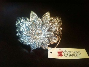 Charming Charlie Beautiful Silver Flower Bracelet