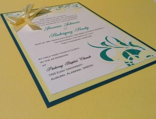 Yellow And Green Triple Layered Wedding Invitation