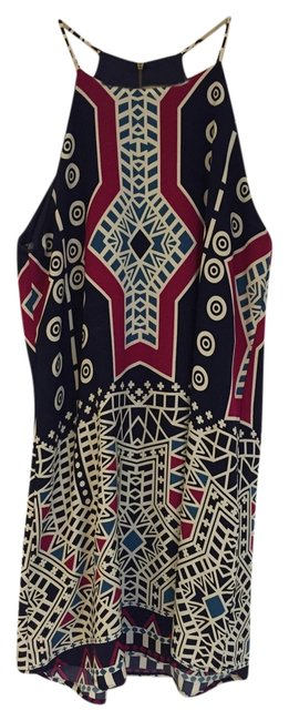 Item - Navy/White/Magenta/Teal High Neck Cotton Mid-length Cocktail Dress Size 6 (S)