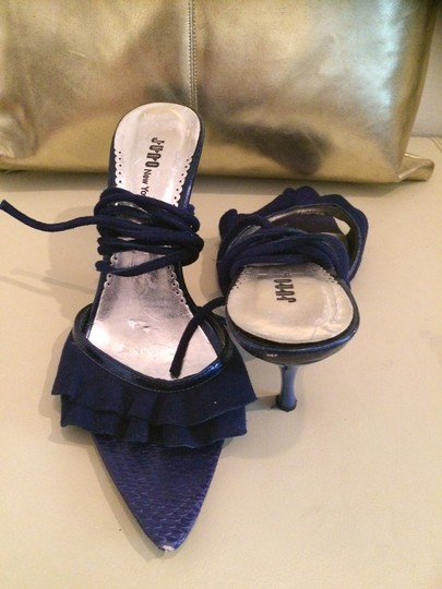Juno New York Suede Snakeskin Blue Sandals