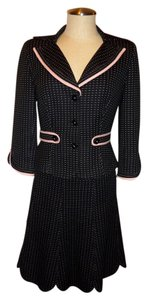 Kay Unger Kay Unger 2 Piece Skirt Jacket Suit Black w/ Pink Polka Dots Size 4