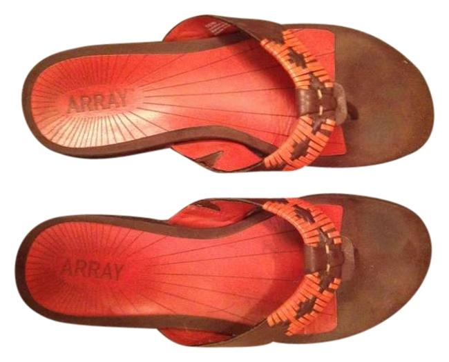 Item - Orange and Brown Flip-flops Sandals Size US 10