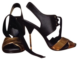 Tory Burch 4 1/2 Heel Stiletto Black/Bronze Sandals