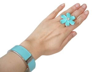 Turquoise color flower ring and bangle set