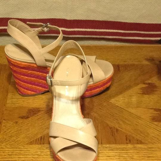 Via Spiga Light Bisque Straps With Pink And Orange Wedges