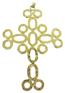 Other 18KT YELLOW GOLD PENDANT CHARM HAMMERED CROSS ITALY DESIGNER B 2.4DWT ITALIAN