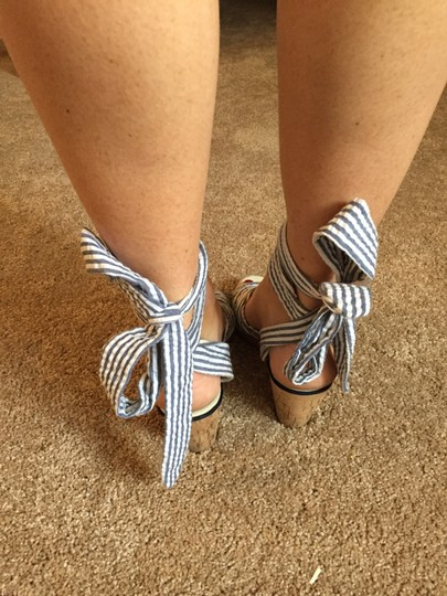 Sperry Lace Up Summer Seersucker Wedges