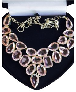 LARGE STATEMENT NECKLACE LIGHT PINK TOPAZ 925 STERLING SILVER