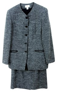 Talbots Collarless Black/Grey Wool Tweed Skirt Suit