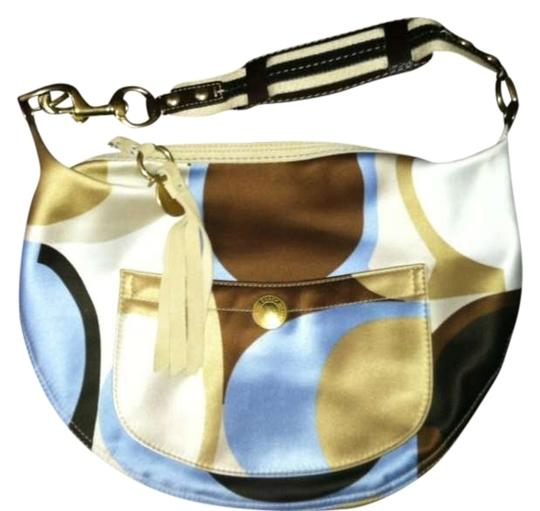 Coach Satchel in Multi - brown, lite blue, cream, tan