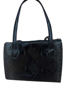 Donald J Pliner Designer Satchel in Black snakeskin with brown colorations
