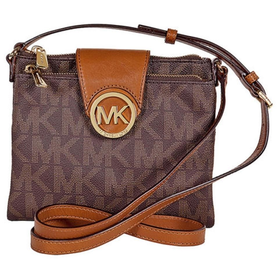 54a2d7e9159c Michael Kors Fulton Large Crossbody Brown Leather Shoulder Bag - Tradesy