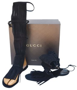 Gucci Womens Designer Gladiator Flats Thong Black Sandals