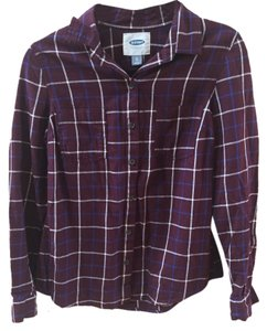 Old Navy Plaid Cozy Maroon Casual Button Down Shirt Burgundy