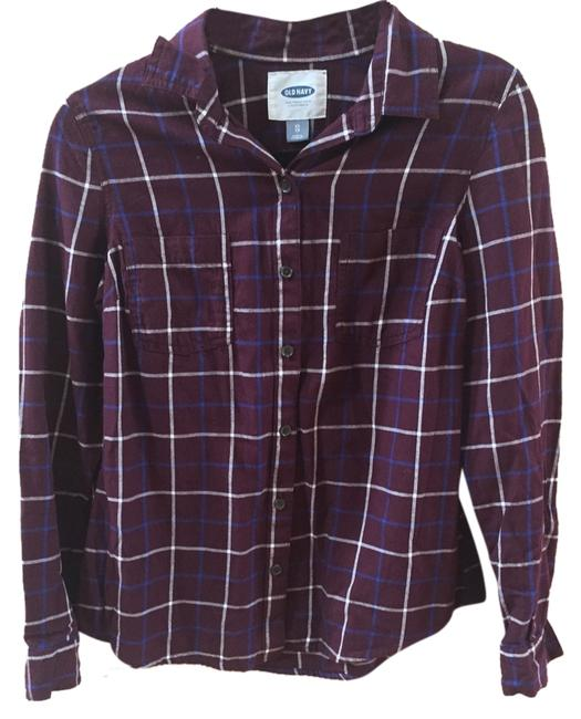 Old Navy Plaid Maroon Casual Button Down Shirt Burgundy